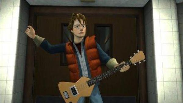 Marty spielt Gitarre.