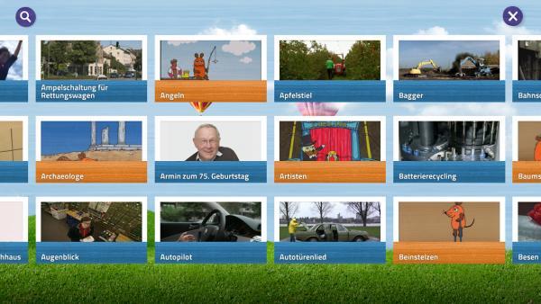 """Screenshot: Auswahl der """"Lach- und Sachgeschichten""""-Videos"""