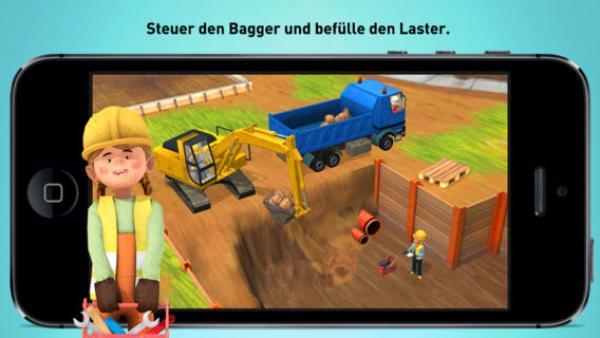 ein Bagger gräbt eine Grube