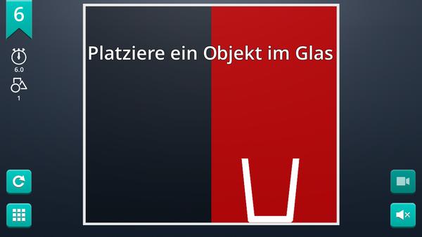 Screenshot: Aufgabenstellung ist ein Objekt in einem Glas zu platzieren
