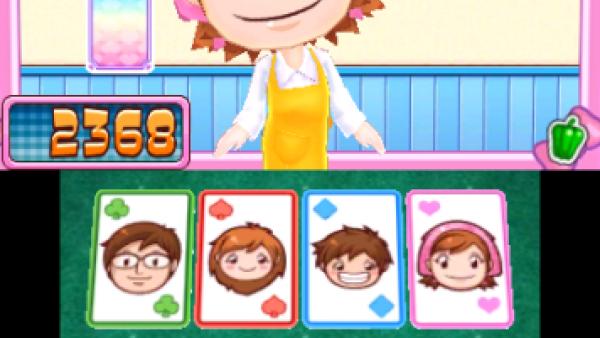 Screenshot: Cooking Mama spielt ein Kartenspiel