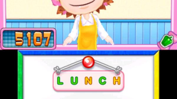 Screenshot: Cooking Mama bildet ein Wort aus ein paar Buchstaben