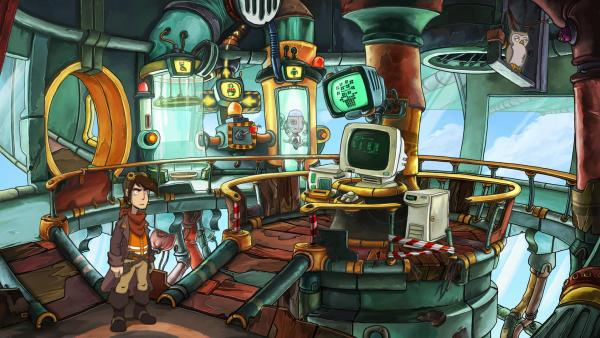 Screenshot: Der Hauptcharakter steht in einer Art Labor mit verschiedenen Computern.