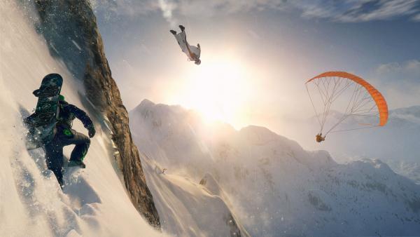 Screenshot: Ein Paragleiter, ein Wingsuite-Springer und ein Snowboarder bezwingen einen Berg