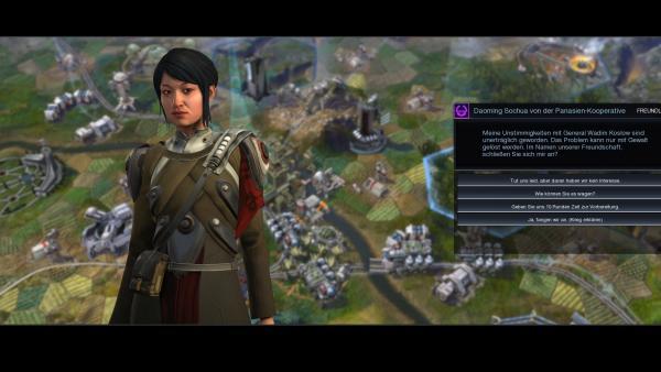 Eine Fraktionsanführerin fordert den Spielenden zum Krieg gegen eine andere Fraktion auf.