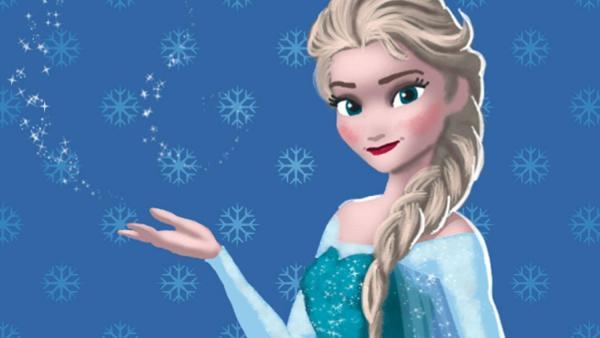 Screenshot: Porträt von Elsa mit Schneeflocken