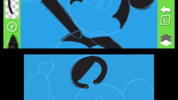 Screenshot: Anmalen der schwarzen Ohren von Micky