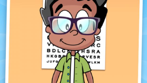 Screenshot: ein Kind mit Brille und ein Sehtest