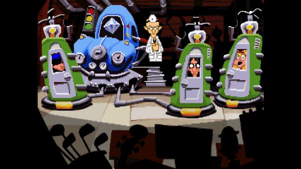 Screenshot: Zeitmaschine mit den drei Hauptcharakteren und einem verrückten Wissenschaftler. Die Szene ist in der Originalgrafik dargestellt.