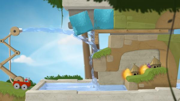 Man sieht zwei brennende Hütten, die die Spielenden mit Hilfe von Eisblöcken löschen müssen.