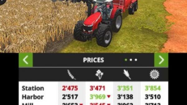 Screenshot: ein Mähdrescher erntet ein Weizenfeld ab