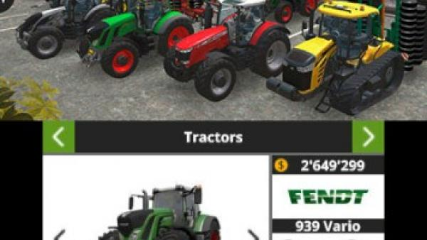 Screenshot: mehrere Traktoren verschiedener Marken