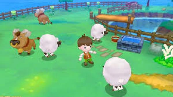 Ein Schafhirte umringt von Schafen.
