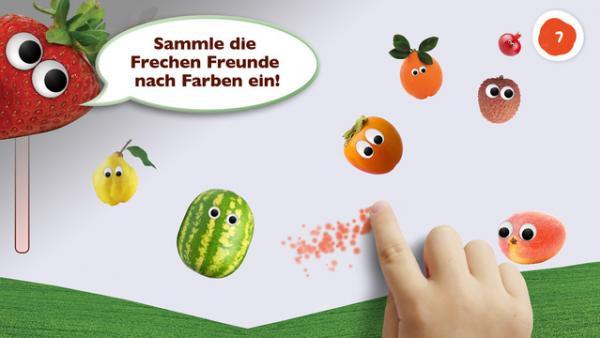 Screenshot: Früchte nach Farbe sortieren