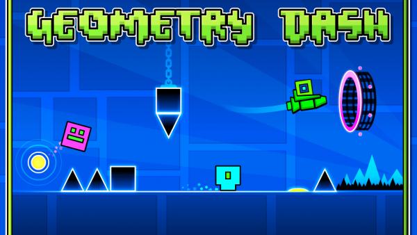 """Screenshot von """"Geometry Dash"""" mit geometrischen Figuren und einer Rakete"""