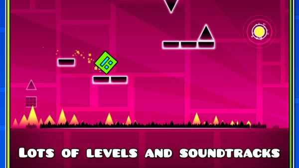 """Screenshot von """"Geometry Dash"""" mit einem hüpfenden Quadrat"""