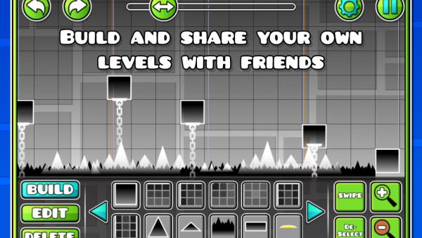 """Screenshot von """"Geometry Dash"""" mit einem Leveleditor"""