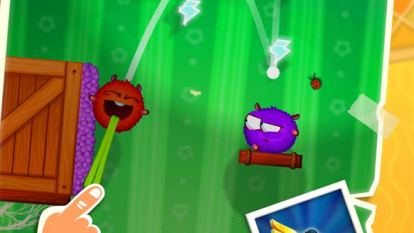 Screenshot: Es wird gezeigt, wie eine runde rote Figur durch Ziehen gesteuert werden kann.