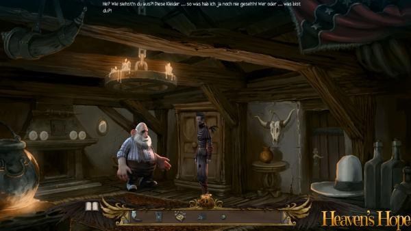Screenshot: Ein Engel und ein dicker Farmer stehen in seiner urigen Hütte.