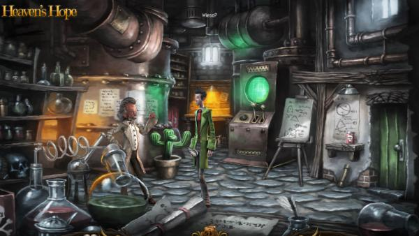 Screenshot: Ein Engel und ein alter Wissenschaftler stehen in einem bunten Labor.