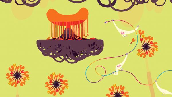 Screenshot: Ein Fantasiegebilde schwebt in der Luft