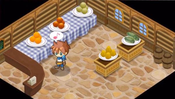 der Laden mit den Verkaufstischen und einer Spielfigur