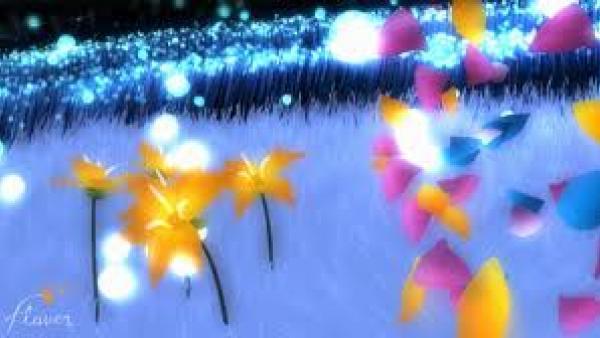 stilisierte Blütenblätter auf einer Wiese
