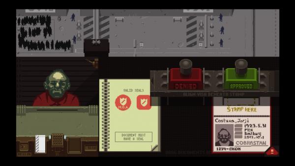 Bild des Spielmenüs;  Im oberen Drittel steht eine Schlange an Personen vor einem Zollhaus und es sind bewaffnete Wachen zu sehen. Im unteren Drittel sieht man den Blick aus dem Zollhaus auf eine Person und deren Pass.