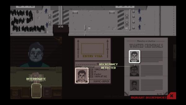 Bild des Spielmenüs; Die Person am Zollschalter ist ebenso in einer Liste mit Bildern von gesuchten Verbrechern zu sehen.
