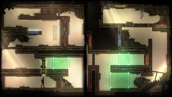 Screenshot: Ein Level mit Hindernissen und Zacken.