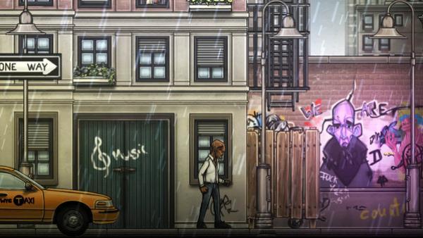 Screenshot: Ein Mann geht eine Straße entlang.