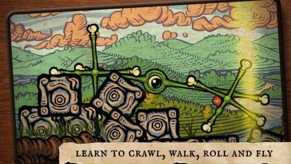 """Spielfigur mit vielen Gliedmaßen. Schriftzug: """"Learn to crawl, walk, roll and fly""""."""