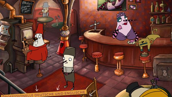 Robert steht in einer Bar.