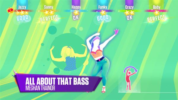 "Screenshot: eine stilisierte Frau tanzt zu dem Liedtitel ""All about the bass"""