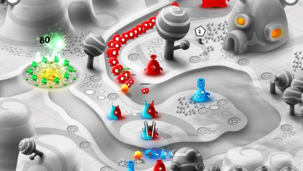 Auf dem Spielfeld sieht man einen Angriff von roten Jellys.