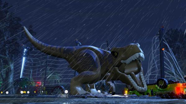 Screenshot: ein brüllender LEGO-Tyrannosaurus