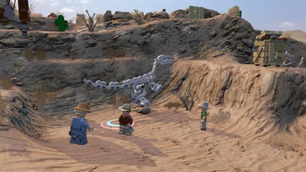 Screenshot: eine Wüste und ein Saurierskelett