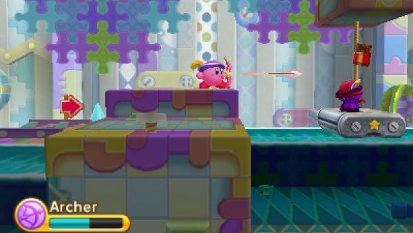 """Screenshot von """"Kirby: Triple Deluxe"""" zeigt Kirby mit Pfeil und Bogen"""