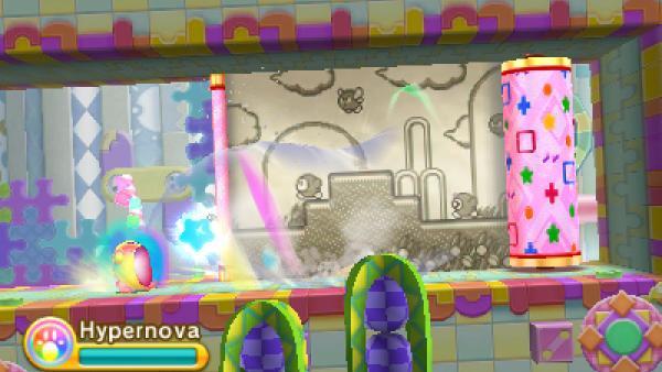 """Screenshot von """"Kirby: Triple Deluxe"""" zeigt Kirby und eine entrollte Tapete"""