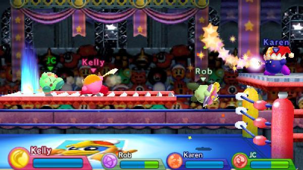 """Screenshot von """"Kirby: Triple Deluxe"""" zeigt vier Kirbys im Boxring, gespielt wird """"Kirby's Recken"""", eine in  """"Kirby Triple Deluxe"""" enthaltene Erweiterung"""