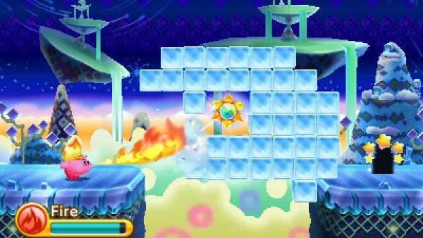 """Screenshot von """"Kirby: Triple Deluxe"""" zeigt einen feuerspeienden Kirby"""