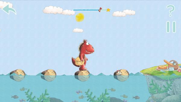 Screenshot: ein Drache hüpft über Steine über einen Fluss