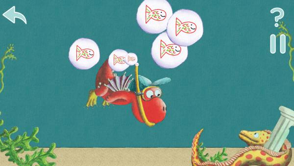 Screenshot: ein Drache taucht unter Wasser