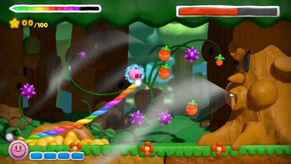 Screenshot: Waldlevel, Kirby sammelt Früchte ein