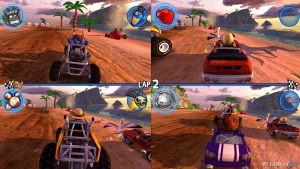 Screenshot: Splitscreen von vier Spielenden