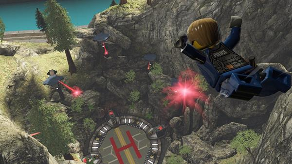 Screenshot: Chase hüpft von einem Berg und rast Richtung einem Hubschrauberlandeplatz
