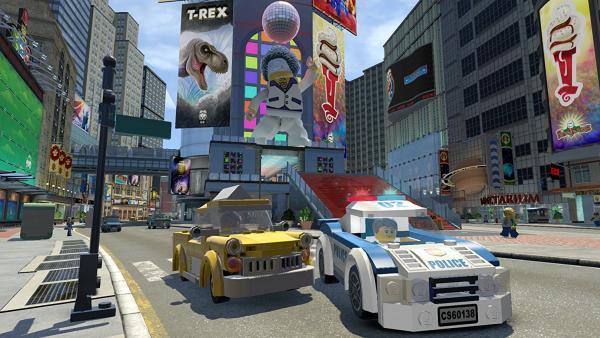 Screenshot: Straße, Autos, Hochhäuser, Leuchtreklame
