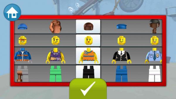 Zusammenbauen einer Legofigur, indem man sich Kopfbedeckung, Kopf, Torso und Beine aussucht.