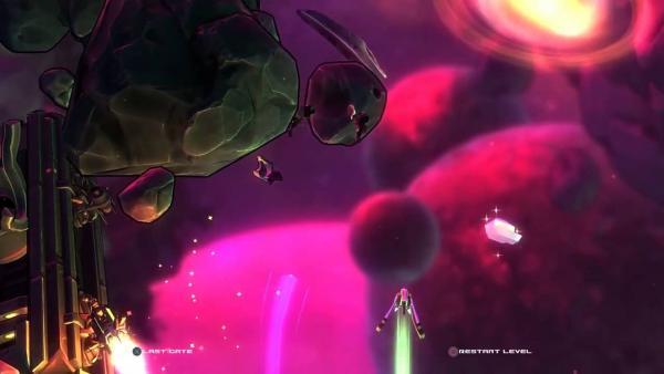 Screenshot: Astronaut ist mit einem Jet unterwegs