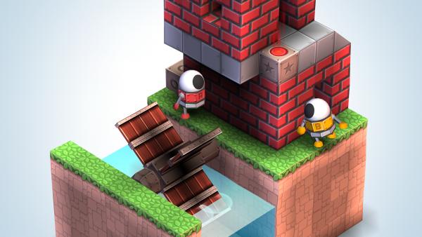 Screenshot: Zwei Roboter stehen neben einem Gebäude, das einer Wassermühle gleicht.